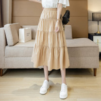 skirt Summer 2021 S,M,L,XL White, yellow, black Mid length dress commute High waist A-line skirt Type A 18-24 years old XW 71% (inclusive) - 80% (inclusive) brocade cotton Korean version