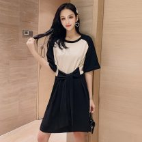 Dress Summer 2021 black S,M,L,XL Short skirt singleton  Short sleeve commute Crew neck High waist A-line skirt routine Others 18-24 years old Type A Korean version XW 71% (inclusive) - 80% (inclusive)