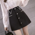 skirt Spring 2021 S,M,L,XL black Short skirt commute High waist A-line skirt Solid color Type A 18-24 years old AT 51% (inclusive) - 70% (inclusive) other polyester fiber Button, zipper Korean version