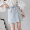 skirt Summer 2021 S,M,L,XL Khaki, light blue, black Short skirt Versatile High waist A-line skirt Solid color Type A 18-24 years old 71% (inclusive) - 80% (inclusive)