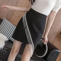 skirt Spring 2021 S,M,L,XL,2XL,3XL,4XL,5XL Black, red, apricot Short skirt commute High waist Irregular Solid color Type A 18-24 years old jr 71% (inclusive) - 80% (inclusive) knitting Viscose Resin fixation, zipper, nail bead, asymmetric, three-dimensional decoration, inlaid diamond Korean version