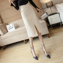 skirt Summer 2021 S,M,L,XL,2XL Khaki, apricot, black Mid length dress commute High waist A-line skirt Solid color Type A 18-24 years old FA 71% (inclusive) - 80% (inclusive) Korean version