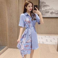 Dress Summer 2021 White, blue S,M,L,XL Middle-skirt singleton  Short sleeve commute stand collar Loose waist Decor Single breasted Irregular skirt shirt sleeve Others 18-24 years old Type A Korean version Bandage 71% (inclusive) - 80% (inclusive) other