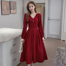 Dress Spring 2021 Red, black S,M,L,XL Mid length dress singleton  Long sleeves commute square neck Solid color other 18-24 years old Type A Korean version Button, button jr 71% (inclusive) - 80% (inclusive)