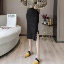 skirt Spring 2021 Average size Black, gray, off white Mid length dress Versatile High waist Irregular Solid color Type H 18-24 years old SL 71% (inclusive) - 80% (inclusive) other
