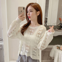 Wool knitwear Spring 2021 Average size Green, white, blue, yellow, orange Long sleeves singleton  Socket other 71% (inclusive) - 80% (inclusive) routine commute easy Low crew neck Bat sleeve Solid color Socket Korean version AT 18-24 years old