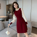Dress Spring 2021 Red, black S,M,L,XL Middle-skirt Long sleeves commute Lotus leaf collar Elastic waist Solid color Socket A-line skirt puff sleeve 18-24 years old Type A Korean version jr 71% (inclusive) - 80% (inclusive) knitting