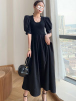 Women's large Summer 2021 Black grey S M L XL 2XL 3XL Dress singleton  commute Self cultivation moderate Socket elbow sleeve Solid color Korean version Crew neck polyester Three dimensional cutting puff sleeve sn011465156104145201 SANA 18-24 years old Resin fixation 71% (inclusive) - 80% (inclusive)