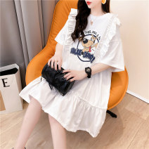 T-shirt Pink white Average size Summer 2021 Short sleeve Crew neck Straight cylinder Medium length routine commute cotton 96% and above 18-24 years old Korean version originality Cartoon letters Han Youshang Ha7364 Printed fold Cotton 96% polyurethane elastic fiber (spandex) 4%
