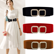Belt / belt / chain cloth female Waistband Versatile Single loop Middle aged youth a hook Geometric pattern Glossy surface 6cm alloy Beautiful and expensive Summer 2020 no