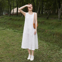 Dress Summer 2021 white S,M,L longuette singleton  Sleeveless commute Crew neck Loose waist Solid color Socket routine Others Type A Suo family literature More than 95% other hemp