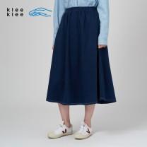 skirt Spring 2021 26/160 27/165 indigo Mid length dress Natural waist K0211SK01 More than 95% Klee Klee cotton Cotton 100% Same model in shopping mall (sold online and offline)