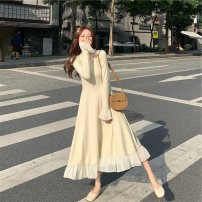 Dress Winter 2020 Rice white dress black dress S M L XL longuette singleton  Long sleeves commute V-neck High waist Solid color Single breasted Ruffle Skirt pagoda sleeve Others 18-24 years old Type H Qiaonifen Korean version fungus 51% (inclusive) - 70% (inclusive) knitting other