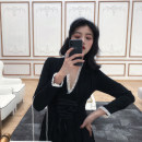 Dress Autumn of 2019 black S M L XL Mid length dress singleton  Long sleeves commute V-neck High waist Solid color other other other Others 18-24 years old Type A Qiaonifen Korean version More than 95% other polyester fiber Polyester 100% Pure e-commerce (online only)