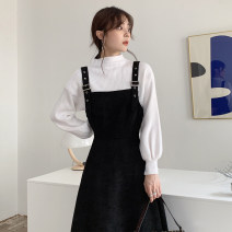 Dress Autumn 2020 White sweater with suspender skirt white sweater + suspender skirt [one set] S M L XL Mid length dress Two piece set Long sleeves commute Half high collar High waist Solid color Socket A-line skirt bishop sleeve Others 18-24 years old Type A Qiaonifen Korean version knitting