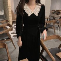 Dress Autumn 2020 black S M L XL Mid length dress singleton  Long sleeves commute other High waist Solid color zipper A-line skirt routine Others 18-24 years old Type A Qiaonifen Retro Patchwork lace seven hundred and eighteen # goods in stock 51% (inclusive) - 70% (inclusive) polyester fiber
