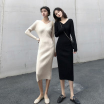 Dress Autumn 2020 Black apricot S M L Mid length dress singleton  Long sleeves commute V-neck High waist Solid color Socket A-line skirt routine Others 18-24 years old Type A Qiaonifen Korean version Y 51% (inclusive) - 70% (inclusive) knitting polyester fiber Polyester 70% other 30%
