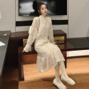 Dress Winter of 2019 Apricot (regular version) apricot (plush version) S M L XL longuette singleton  Long sleeves commute Half high collar Loose waist Solid color zipper Ruffle Skirt Lotus leaf sleeve Others 18-24 years old Type A Qiaonifen Korean version #8957 More than 95% Lace polyester fiber