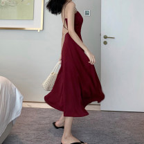 Dress Summer of 2019 Red and black S M L Mid length dress singleton  Sleeveless commute Crew neck High waist Solid color Socket A-line skirt other camisole 18-24 years old Type A Qiaonifen Korean version 6939_ thirty thousand nine hundred and twenty-five More than 95% Chiffon polyester fiber