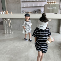suit Beibei up White, black 90cm,100cm,110cm,120cm,130cm,140cm male summer Korean version Short sleeve + pants 2 pieces Thin money There are models in the real shooting stripe cotton MX stripe suit Class B 2, 7, 3, 5, 6, 4 Chinese Mainland