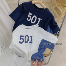 T-shirt White, navy blue Beibei up 100cm,110cm,120cm,130cm,140cm male summer Short sleeve Crew neck leisure time There are models in the real shooting nothing cotton letter X21050 splicing 501 short sleeve Class B Seven, three, six, two, five, four Chinese Mainland