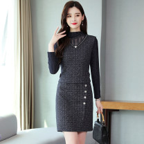 Dress commute High waist Korean version Lace Other chain Winter of 2019 Two piece set Long sleeve Pile collar Design and color Medium length skirt Condom other A-line skirt Type A 35-39 years old 91% (inclusive) - 95% (inclusive) polyester fiber M,L,XL,2XL,3XL