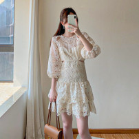 Dress Summer 2021 Apricot color, welfare price only loses 30 pieces 1 / s, 2 / m, 3 / L Middle-skirt singleton  Short sleeve commute Crew neck middle-waisted Solid color zipper A-line skirt puff sleeve Others 18-24 years old Type A Gouhua, hollowed out, zipper, lace J3018 Lace polyester fiber