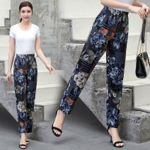 Middle aged and old women's wear Summer 2020 XL,XXL,XXXL,4XL,5XL leisure time trousers easy singleton  Broken flowers 40-49 years old moderate other Other / other pocket cotton 96% and above 7 / 9 pants other Cotton 96% and above