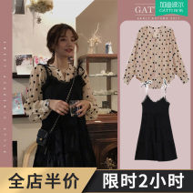 Women's large Autumn 2020 Small black skirt + Polka Dot Shirt suit Dress Two piece set commute easy thin Socket Long sleeves Dot Korean version V-neck Medium length Three dimensional cutting other A2-14ZYF1699 Gattibor / gadipol 18-24 years old Lace stitching Short skirt Other polyester 95% 5% straps