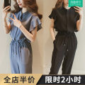 Women's large Spring 2020 Black two piece suit blue two piece suit Dress Two piece set Sweet easy thin Socket Short sleeve V-neck routine Three dimensional cutting Lotus leaf sleeve MTG8621 Gattibor / gadipol 18-24 years old pocket longuette Other polyester 95% 5% Pure e-commerce (online only) other