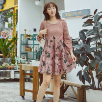 Dress Spring 2021 Pink S,M,L,XL,2XL Middle-skirt singleton  Nine point sleeve commute Crew neck Loose waist Socket A-line skirt puff sleeve 30-34 years old Type A Korean version Embroidery, stitching, 3D Lace polyester fiber