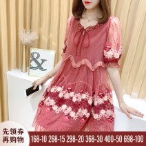 Dress Summer 2021 Red, pink S,M,L,XL,2XL Middle-skirt singleton  Short sleeve commute Crew neck Loose waist Decor Socket A-line skirt puff sleeve Type A Korean version Embroidery, stitching, mesh, resin fixation, lace, 3D