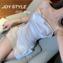 Dress Summer 2021 Pink, white S,M,L Short skirt singleton  Sleeveless commute Dangling collar Solid color Socket Princess Dress routine camisole 18-24 years old Type H lady JOY3037 31% (inclusive) - 50% (inclusive) Silk and satin other