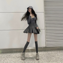 Fashion suit Spring 2021 S,M,L Grey top, grey skirt, black top, black skirt 18-25 years old QA7196 31% (inclusive) - 50% (inclusive) polyester fiber