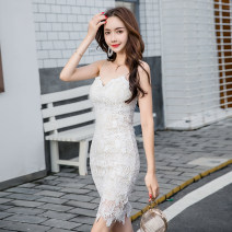 Dress Summer 2021 Off white S,M,L,XL Middle-skirt singleton  Sleeveless commute V-neck High waist Solid color zipper One pace skirt routine camisole 25-29 years old Type A Other / other Korean version Backless, embroidery, Gouhua, hollow out, three-dimensional decoration, lace LS7588 Lace nylon