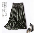 skirt Autumn 2020 Average size Army green, black Mid length dress Retro High waist Pleated skirt Solid color Type A 25-29 years old More than 95% other fold