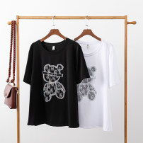 Women's large Summer 2021 Black and white L XL 2XL 3XL 4XL 5XL T-shirt singleton  commute easy moderate Socket Short sleeve Cartoon animation Simplicity Crew neck routine Cotton Chloroprene routine Z2779-1 Chaojie International 18-24 years old Diamond inlay Pure e-commerce (online only)