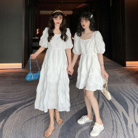 Dress Summer 2021 White short white long S M L XL longuette singleton  Short sleeve commute square neck High waist Solid color zipper A-line skirt routine Others 18-24 years old Type H QXVJ Korean version fold 81% (inclusive) - 90% (inclusive) other New polyester 90% other 10%