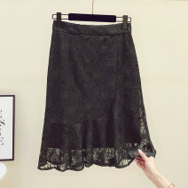 skirt Autumn 2020 M,L,XL,2XL black Mid length dress commute Natural waist skirt Solid color Type A 25-29 years old FC0096 51% (inclusive) - 70% (inclusive) Lace Other / other nylon Cut out, stitching, lace Korean version