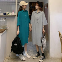 Women's large Summer 2021 Grey, green Large XL, large XXL, large XXL, large XXXXL, large L, M T-shirt singleton  commute easy moderate Socket Short sleeve Solid color Korean version Polo collar Medium length polyester Three dimensional cutting routine 31% (inclusive) - 50% (inclusive) Medium length