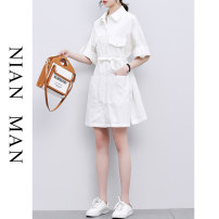 Dress Summer 2021 M L XL Middle-skirt singleton  elbow sleeve commute Polo collar Loose waist Solid color Single breasted A-line skirt other Others 30-34 years old Nianman Korean version Pocket lace up stitching More than 95% other Other 100% Pure e-commerce (online only)
