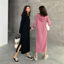 Nursing clothes Black, raspberry powder, black zipper, raspberry powder zipper M,L,XL,2XL Big Mommy Socket autumn Long sleeves Korean version Solid color 4730#