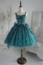 Dress Autumn of 2019 Blue, white, green, cyan S,M,L Sleeveless Sweet Type A Other / other organza  Lolita