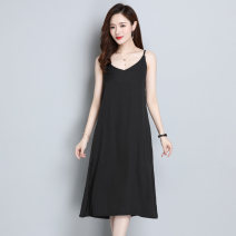 Dress Summer 2021 Yellow, white, red, black, pink, light apricot M,L,XL longuette singleton  Sleeveless commute V-neck Solid color Socket A-line skirt camisole Type A Korean version Splicing More than 95% Chiffon