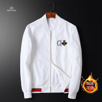 Jacket Other / other Youth fashion White, black, white plush, black plush L,XL,2XL,3XL,4XL routine Self cultivation Other leisure autumn Polyethylene terephthalate (polyester) 100% Long sleeves Wear out Baseball collar tide youth routine Zipper placket 2020 Rib hem No iron treatment Closing sleeve