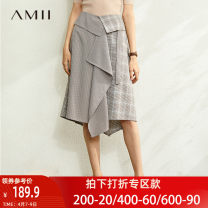 skirt Spring 2020 Mid length dress commute Natural waist A-line skirt houndstooth  Type A 25-29 years old 91% (inclusive) - 95% (inclusive) Amii polyester fiber Asymmetric splicing Simplicity Polyester 93% polyurethane elastic fiber (spandex) 7% Same model in shopping mall (sold online and offline)