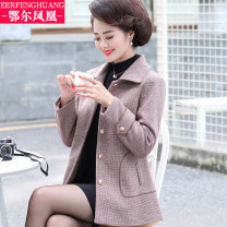 Middle aged and old women's wear Autumn of 2019 XL 2XL 3XL 4XL 5XL fashion Jacket / jacket easy singleton  Solid color 40-49 years old Cardigan moderate Polo collar Medium length (length 50-70cm) routine Er Fenghuang Button other Other 100% 96% and above Single breasted other