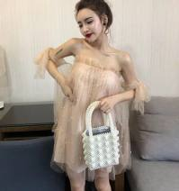 Dress Winter of 2018 Apricot, white S,M,L Short skirt singleton  Sleeveless One word collar Socket Princess Dress Breast wrapping 18-24 years old