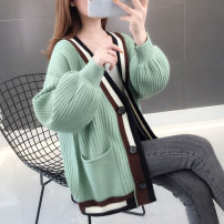 Wool knitwear Autumn of 2019 S M L XL Green Beige yellow pink brown Long sleeves singleton  Cardigan other More than 95% Regular routine commute easy V-neck bishop sleeve Color matching Single breasted Korean version ASL19C068 Ashalu Pocket button Other 100% Pure e-commerce (online only)