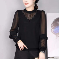 T-shirt Black, red, beige Spring 2021 Long sleeves easy Regular bishop sleeve other 71% (inclusive) - 85% (inclusive) 40-49 years old Solid color Stitching, lace